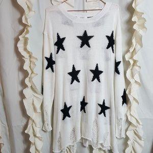 Umgee distressed star tunic sweater
